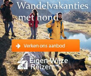 eigenwijze reizen wandelvakanties met hond banner